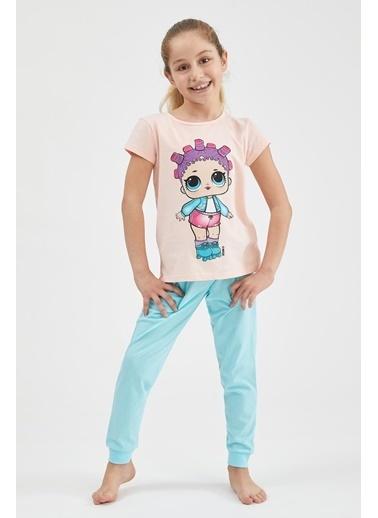 DeFacto Kız Çocuk L.O.L Lisanslı Kısa Kol Pijama Takımı Pembe